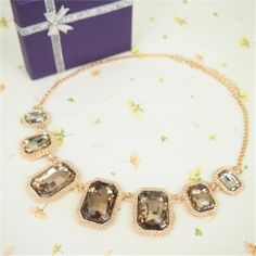 Fashion Necklace for Women Big Square Rhinestone Necklace