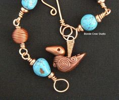 Polymer clay faux turquoise and Celtic copper beads by Maria Brown, Blonde Crow Studio
