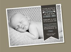 Side Ribbon  Baptism Invitation by winksanddaisies on Etsy, $15.00