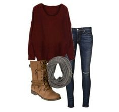 Favorite fall outfit! Burgundy sweaters, lace up boots and scarves are just amazing together!