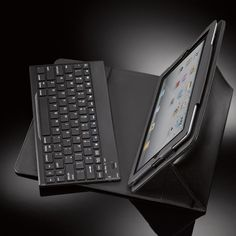 Rich, genuine leather–and a removeable, Bluetooth keyboard for your iPad tablet.