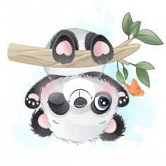 Cute Little Panda Hanging In The Tree Panda Illustration, Watercolor Illustration, Cute Images, Cute Pictures, Decoration Creche, Panda Lindo, Watercolor Christmas Tree, Little Panda, Watercolor Plants