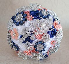 Brooch bouquet. Coral Navy Blue White and by MagnoliaHandmade