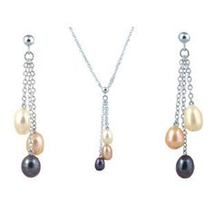 White Gold Pink, White and Black Pearl Earrings and Necklace Set Available Exclusively at Gemologica.com