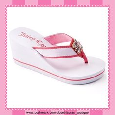 "Juicy Couture Pink/White w/Rhinestone Wedge Sandal HPNWT Juicy Couture pink/white rhinestone wedge sandals! Features: rhinestones, fabric strap & toe post giving added comfort, padded footbed & outsole provide stability. Fabric upper/lining, EVA outsole, 3"" heel, 0.38"" platform  *Size down if 1/2 size *S 5-6 (SOLD OUT) *M 7-8 (Purchase Sz 8 listing) *L 9-10 *XL 11 *Gray/Green, Pink/Black sandals available in separate listing to buy & bundle *Bundle Discounts, Smoke-Free, No Trades Juicy…"