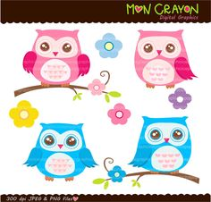 owl  owl clip art  printable owl   Colourful Hoot by moncrayon, $4.80
