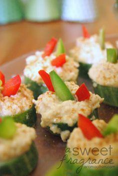 A Sweet Fragrance: Quick and Healthy Appetizer: Cucumber Hummus Bites