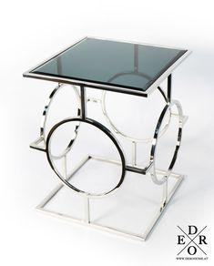 """Wunderschöner Beistelltisch """"Tristan"""" im edlen Design mit Glasplatte.  Platzieren Sie den Tisch neben der Couch um Ihre Getränke oder Snacks abzustellen, oder setzen Sie den dekorativen Tisch ein, um nette Deko Objekte darauf zu platzieren. Das ausgefallene Design und die exklusive Optik machen dieses Möbelstück zu einen wahren Highlight in Ihrem Zuhause. Home Living, Drafting Desk, Couch, Snacks, Furniture, Home Decor, Objects, Home Decor Accessories, Ad Home"""
