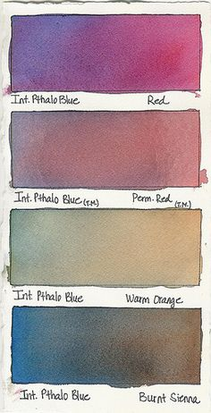 Watercolor Mixes Intense Pthalo Blue plus: Red Permanent Red Warm Orange Burnt Sienna Watercolor Mixing, Watercolor Tips, Watercolour Tutorials, Watercolor Techniques, Watercolour Painting, Painting Techniques, Painting & Drawing, Drawing Tutorials, Watercolors