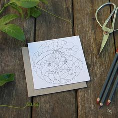 Dahlia Botanical Illustration Greeting Card Colour Your Own with Envelope Dahlia Flower, Flowers, Pressed Leaves, Paper Leaves, Ink Color, Botanical Illustration, Pink And Green, Recycling, Greeting Cards