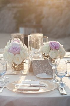 Table decor. Simple and romantic. Romantic candles and wedding ideas, get inspired at www.scentedcandleshop.com.
