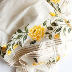 Off-White Yellow Floral Hand Painted Cotton Gotta Dupatta