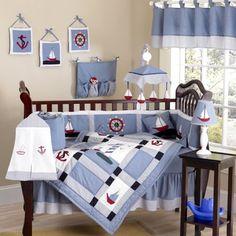 Come Sail Away Nautical Sail Boat Blue and white Baby Boy Bedding 9pc Crib Set