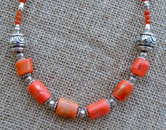 Orange Coral Necklace with Silver Beads Tribal Boho by LKArtChic