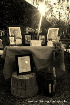 Memory Table honoring loved ones in heaven who could not attend your wedding day. Kerrie and Marshall Rogne Wedding. I want to do this for those loved and lost but more of an actual table with a photo and how we knew them-Angel Wedding 2015, Fall Wedding, Rustic Wedding, Our Wedding, Dream Wedding, Wedding Table Centerpieces, Wedding Decorations, Loved One In Heaven, Memory Table