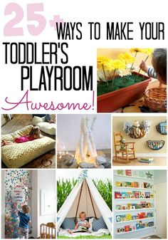 Some of the ideas in this post for creating a toddler playroom are so good. Love the bookcase and the wire baskets for toy storage!