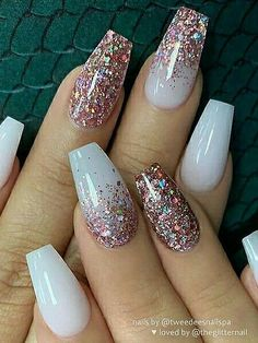 nail art designs with glitter ~ nail art designs ; nail art designs for spring ; nail art designs for winter ; nail art designs with glitter ; nail art designs with rhinestones White Coffin Nails, Coffin Nails Long, White Gel Nails, Coffin Nails Glitter, Yellow Nail, Nail Gel, Stiletto Nails, Best Acrylic Nails, Acrylic Nail Art