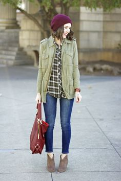 Plaid Top | Army Green Utility Jacket | Jeans | Booties | Plum Beanie