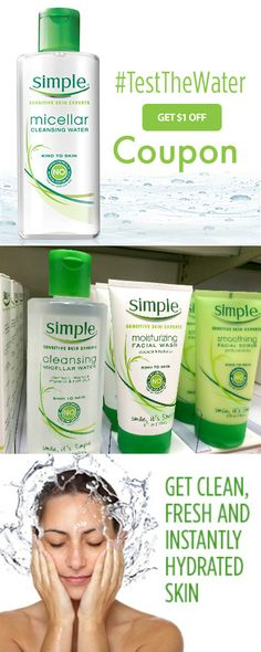 Print your $1.00 Simple® #Coupon   http://freebies4mom.com/simplecoupon #ad  It's my new fave cleanser ~ want to #TestTheWater?