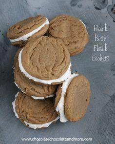Root Beer Float Cookies-Bring back memories from childhood in a cookie! Types Of Desserts, Just Desserts, Delicious Desserts, Yummy Food, Yummy Cookies, Yummy Treats, Sweet Treats, Baby Cookies, Heart Cookies