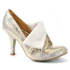 Irregular Choice Gold Flick Flack Court Shoe ($120) found on Polyvore
