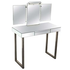 Jacques Adnet Mirrored Vanity | From a unique collection of antique and modern vanities at https://www.1stdibs.com/furniture/tables/vanities/