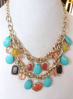 Multi Colored Acrylic Charms Chain Necklace #Charm