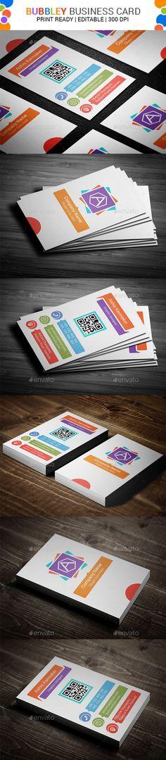 Bubbley Business Card Template #design Download: http://graphicriver.net/item/bubbley-business-card/11456520?ref=ksioks