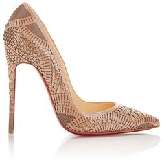 Christian Louboutin Laser-Cut Kristali Pumps (€1.055) ❤ liked on Polyvore featuring shoes, pumps, heels, calçado, christian louboutin, high heels, nude, nude shoes, patent leather pointed toe pumps and slip on shoes