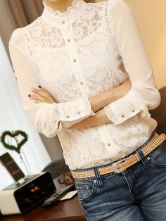 Long Sleeves Lace Wonderful Blouse For Women - Milanoo.com