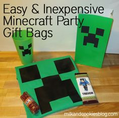 The Ultimate and Inexpensive Minecraft Birthday Party Gift Bag - Milk and Cookies