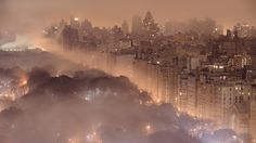 Foggy Night, New York City (click the image... : )  I haven't been, but would love to visit... Love this picture!