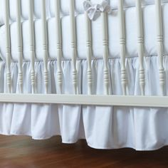Solid White Dust Ruffle | 14 or 20 Inch Gathered White Crib Skirt | Carousel Designs $64.00