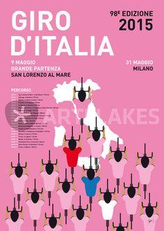 """My Giro D'italia Minimal Poster Percorso 2015"" Graphic/Illustration art prints and posters by chungkong - ARTFLAKES.COM"