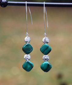 handmade hammered sterling silver earrings. Malachite earrings sterling earrings silver earrings. green earrings natural malachite beads (36.00 USD) by KarmaKittyJewelry