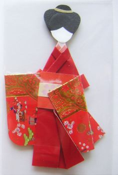 Red Japanese Origami Kimono Doll Bookmark by NightLightCrafts                                                                                                                                                                                 More