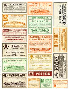 Vintage Halloween Colored POISON Label Medical Digital Download Collage Sheet Supplies Ephemera for Scrapbooking Mixed Media Altered Art. $3.00, via Etsy.