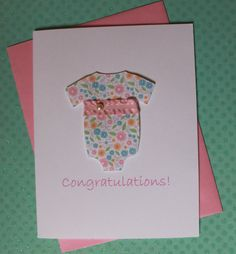 Handmade Baby Shower Congratulations Thank You Gift Card Pink Floral Print Empire Onesie with Ruffle Ribbon Pearl Accent White Cardstock via Etsy