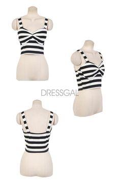eddcb784add Sexy Womens Striped Print Sleeveless Padded Bustier Clubwear Beach Crop Top  Tank