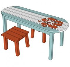 Cute DIY surfboard for a coffee table or bench. Add a Hawaiian flower to the the bench for a perfect surfboard.