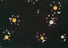 Sun, Moon, Stars Black - Starry night sky from Rashida Coleman-Hale's Eclipse collection for Cotton+Steel.