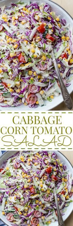Cabbage Corn Cucumber and Tomato Salad                                                                                                                                                                                 More (cucumber avocado salad healthy)