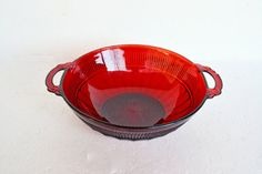 Vintage Ruby Red Glass Bowl  Vintage Anchor by Vintassentials