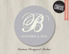 Modern Monogram Wedding Stickers - Favor Labels - Return Address Labels