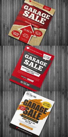 Garage Sale File Features : - Size + Bleed area - CMYK / 300 dpi - Easy to edit text - Well organized PSD file - 3 Alternative designs - Free Font Flyer Free, Sale Flyer, Layout Inspiration, Graphic Design Inspiration, Neighborhood Garage Sale, Free Pictures, Free Pics, Flyer Layout, Editorial