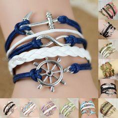 Mix Infinity Anchor Rudder Owl Leather Nautical Friendship Bracelet Couple Gift