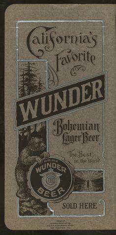 Ad for Wunder beer in a 1905 menu for San Francisco's Techau Tavern restaurant