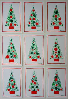 The technique - within a stencil, start with large shapes (perhaps of a certain color?), then gradually smaller shapes until just dots. could be very zen Preschool Christmas, Christmas Crafts For Kids, Christmas Activities, Xmas Crafts, Christmas Themes, Christmas Makes, Winter Christmas, Christmas Art Projects, Christmas Tree Painting