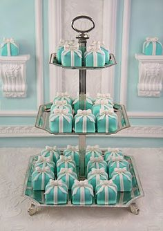 Tiffany's Mini Cakes - Click image to find more Food & Drink Pinterest pins