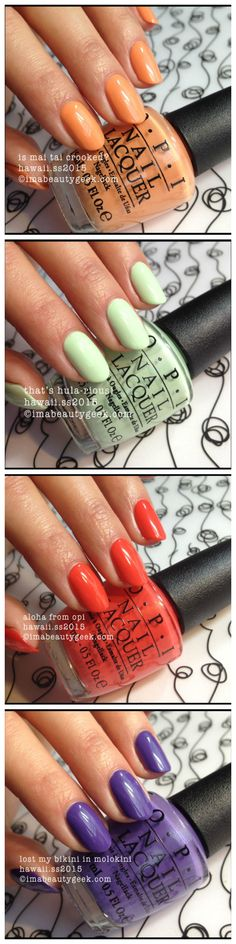 Spring 2015 OPI Hawaii Collection: 'is mai tai crooked?' 'that's hula-rious' 'aloha from opi' and 'lost my bikini in molokini' - swatches by imabeautygeek.com